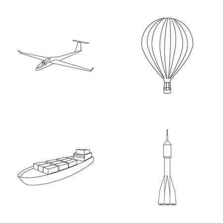 Un drone, un planeur, un ballon, une barge de transport, un mode de transport de fusée spatiale. Transport set collection icônes dans le style de contour vecteur symbole stock illustration web. Banque d'images - 80475952