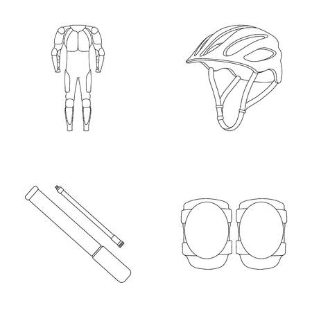Full-body suit for the rider, helmet, pump with a hose, knee protectors.Cyclist outfit set collection icons in outline style vector symbol stock illustration web.