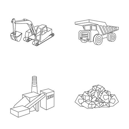 Excavator, dumper, processing plant, minerals and ore.Mining industry set collection icons in outline style vector symbol stock illustration web.