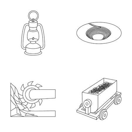 A miners lamp, a funnel, a mining combine, a trolley with ore.Mining industry set collection icons in outline style vector symbol stock illustration web. Illustration