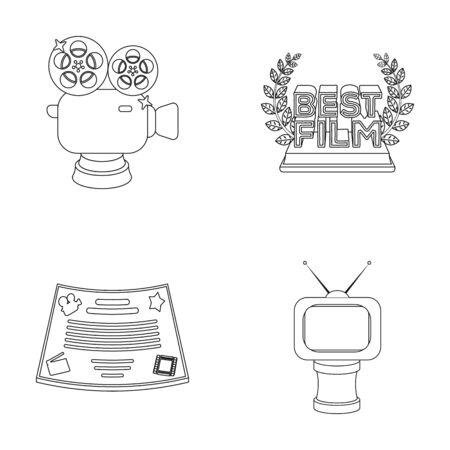 Zilveren camera. Een bronzen prijs in de vorm van een tv en andere soorten prijzen. Film award, sset collectie iconen in kader stijl vector symbool stock illustratie web.