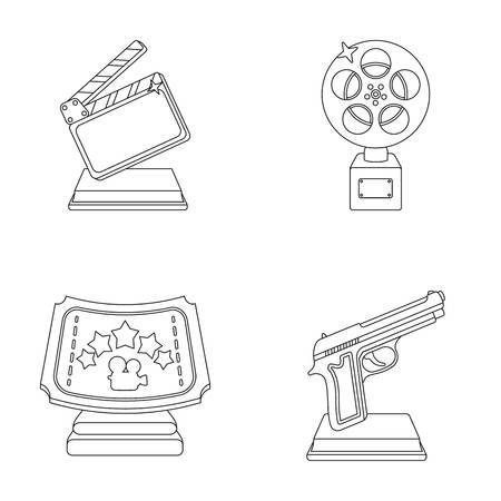 star award: Gold pistol, silver prize for the best supporting role and other prizes.Movie awards set collection icons in outline style vector symbol stock illustration web.