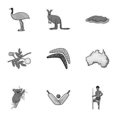 National symbols of australia. Web icon on Australia theme. Australia icon in set collection on monochrome style vector symbol stock illustration. Illustration