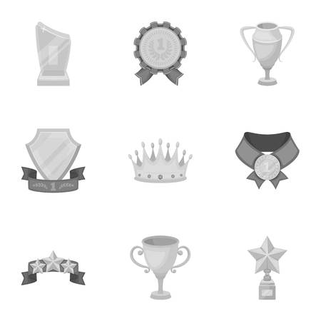 star award: Awards, gold medals and cups as prizes in competitions and competitions. Awards and trophies icon in set collection on monochrome style vector symbol stock illustration.