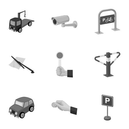 vest in isolated: A set of icons for parking cars and bicycles. Fines and elements of parking.Parking zone icon in set collection on monochrome style vector symbol stock illustration.