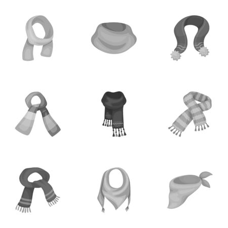 .Beautiful woolen, silk-colored warm scarves of shawls. scarves and shawles icon in set collection on monochrome style vector symbol stock illustration.