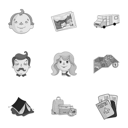 family holiday: Family, family traditions, recreation. Family life.Family holiday icon in set collection on monochrome style vector symbol stock illustration. Illustration