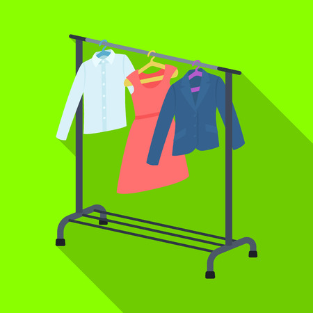 hangers: A hanger with things in the wardrobe.Making movie single icon in flat style vector symbol stock illustration web. Illustration