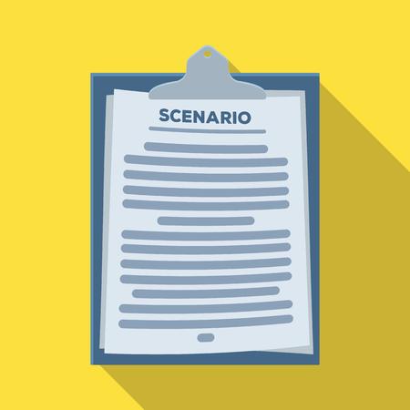 Scenario.Making movie single icon in flat style vector symbol stock illustration web. Çizim
