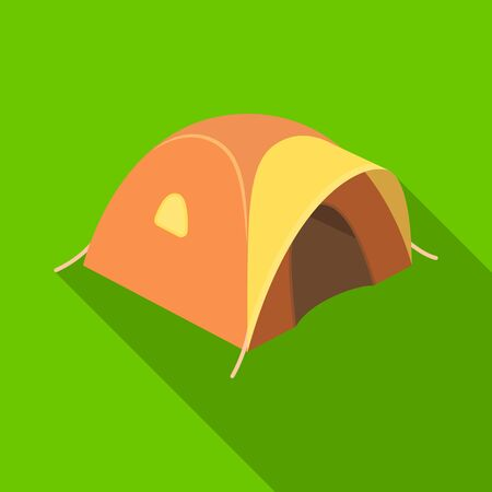 Tent tourist with awning.Tent single icon in flat style vector symbol stock illustration web.