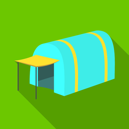 Tent with awning.Tent single icon in flat style vector symbol stock illustration web.
