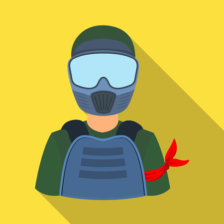 A player in paintball.Paintball single icon in flat style vector symbol stock illustration web. Illustration