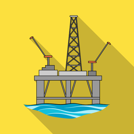Oil rig on the water.Oil single icon in flat style vector symbol stock illustration web.