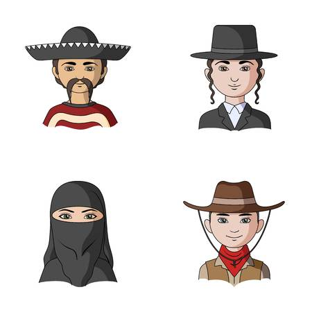 A mexican, a jew, a woman from the middle east, an american. The human race set collection icons in cartoon style vector symbol stock illustration web.