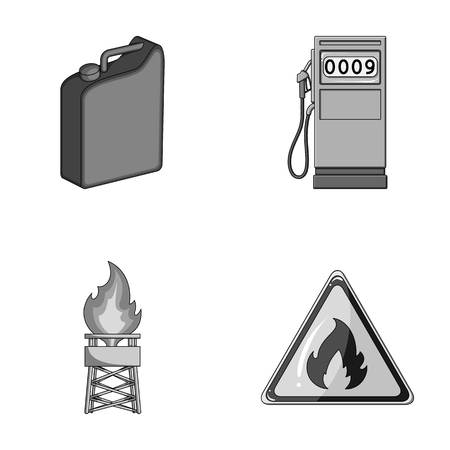Canister for gasoline, gas station, tower, warning sign. Oil set collection icons in monochrome style vector symbol stock illustration web.