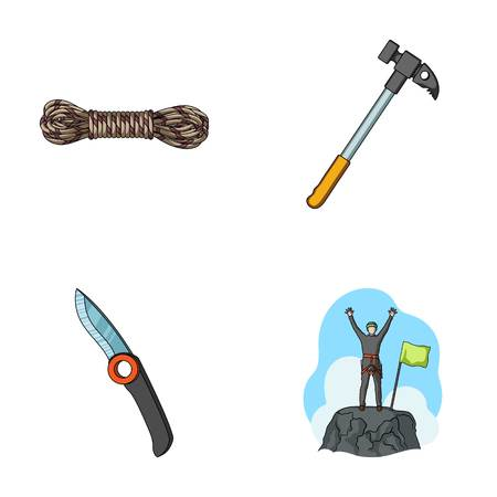 Climber on conquered top, coil of rope, knife, hammer.Mountaineering set collection icons in cartoon style vector symbol stock illustration web.