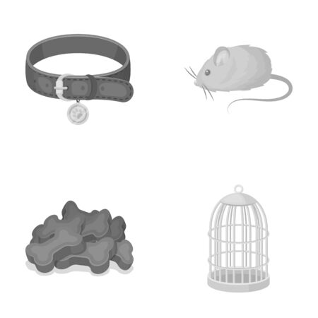 A collar, a forage, a toy, a cage and other products of the zoo store.Pet shop set collection icons in monochrome style vector symbol stock illustration web.
