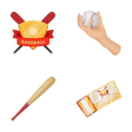 Club emblem, bat, ball in hand, ticket to match. Baseball set collection icons in cartoon style vector symbol stock illustration web.