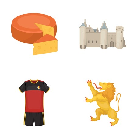 interesting: Cheese, lion and other symbols of the country.Belgium set collection icons in cartoon style vector symbol stock illustration web.