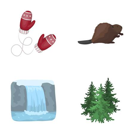 tree isolated: Canadian fir, beaver and other symbols of Canada.Canada set collection icons in cartoon style vector symbol stock illustration web. Illustration