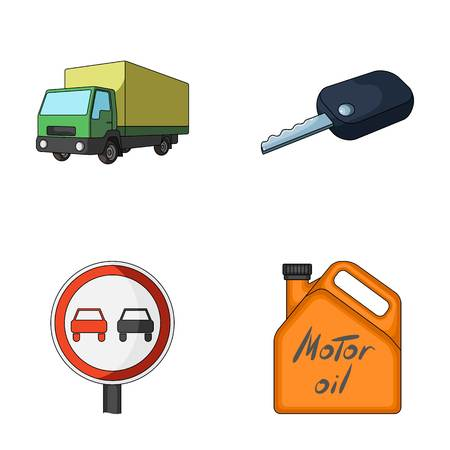 Truck with awning, ignition key, prohibitory sign, engine oil in canister, Vehicle set collection icons in cartoon style vector symbol stock illustration web.