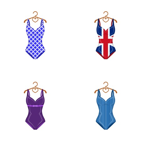 cartoon underwear: Different kinds of swimsuits. Swimsuits set collection icons in cartoon style vector symbol stock illustration web. Illustration