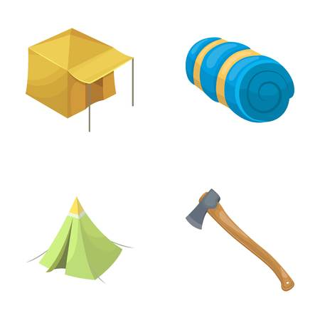 Tent with awning, ax and other accessories.Tent set collection icons in cartoon style vector symbol stock illustration web. Illustration