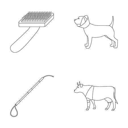 Dog, cow, cattle, pet .Vet Clinic set collection icons in outline style vector symbol stock illustration web.