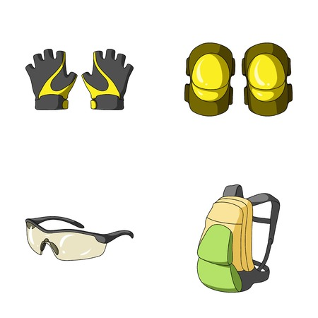 elbow pads: Gloves, elbow pads, goggles, cyclist backpack.Cyclist outfit set collection icons in cartoon style vector symbol stock illustration web. Illustration