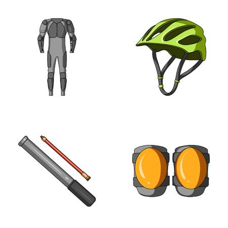 Full-body suit for the rider, helmet, pump with a hose, knee protectors.Cyclist outfit set collection icons in cartoon style vector symbol stock illustration web.