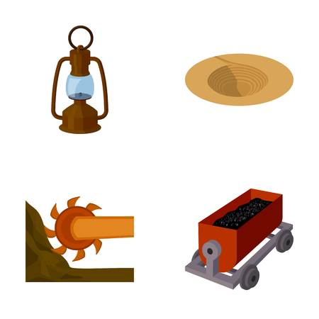 A miners lamp, a funnel, a mining combine, a trolley with ore.Mining industry set collection icons in cartoon style vector symbol stock illustration web.