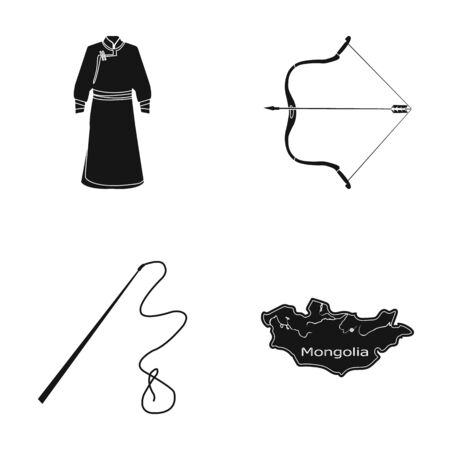 .mongol dressing gown, battle bow, theria on the map, Urga, Khlyst. Mongolia set collection icons in black style vector symbol stock illustration web. Illustration