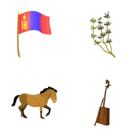 National flag, horse, musical instrument, steppe plant. Mongolia set collection icons in cartoon style vector symbol stock illustration web.