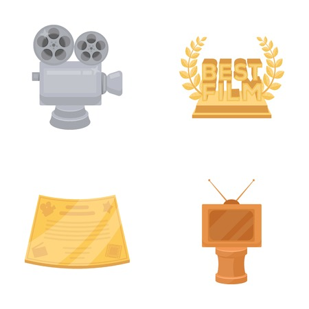 Zilveren camera. Een bronzen prijs in de vorm van een tv en andere soorten prijzen. Film award, sset collectie iconen in cartoon stijl vector symbool stock illustratie web.