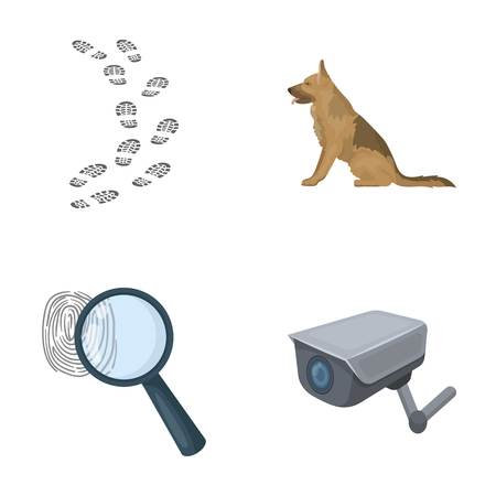 Traces on the ground, service shepherd, security camera, fingerprint. Prison set collection icons in cartoon style vector symbol stock illustration web.