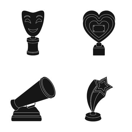 mime: White Mask Mime for the best drama, a prize in the form of the heart and other prizes.Movie awards set collection icons in black style vector symbol stock illustration web. Illustration