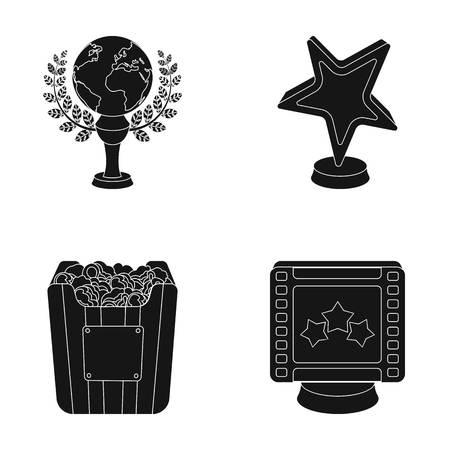 Een gouden prijs in de vorm van een ster, een gouden bol en andere prijzen. Film awards verzameling pictogrammen in zwarte stijl vector symbool stock web.