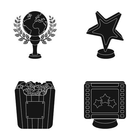 A gold prize in the form of a star, a gold globe and other prizes.Movie awards set collection icons in black style vector symbol stock illustration web.