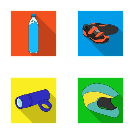fasten: A bottle of water, sneakers, a flashlight for a bicycle, a protective helmet.Cyclist outfit set collection icons in flat style vector symbol stock illustration web.