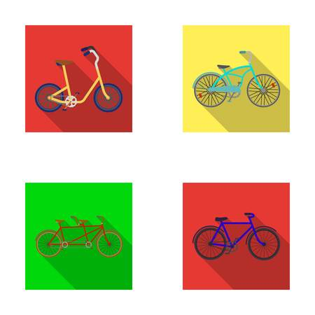 Childrens bicycle, a double tandem and other types.Different bicycles set collection icons in flat style vector symbol stock illustration web. Ilustracja
