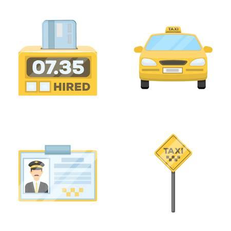 Der Counter des Fahrpreises im Taxi, das Taxi-Auto, das Fahrer-Abzeichen, der Parkplatz des Autos. Taxi-Set Sammlung Symbole in Cartoon-Stil Vektor-Symbol stock Illustration Web.