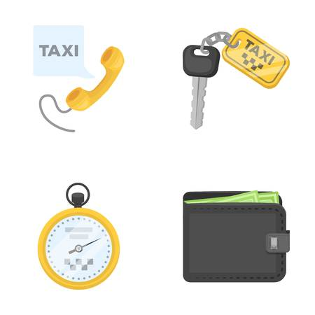 Handset with the inscription of a taxi, car keys with a key fob, a stopwatch with a fare, a purse with money, dollars. Taxi set collection icons in cartoon style vector symbol stock illustration web.