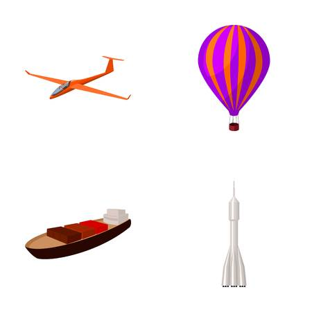 A drone, a glider, a balloon, a transportation barge, a space rocket transport modes. Transport set collection icons in cartoon style vector symbol stock illustration web. Illustration