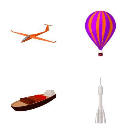 Un drone, un planeur, un ballon, une barge de transport, un mode de transport de fusée spatiale. Transport défini des icônes de la collection en bande dessinée style vecteur symbole stock illustration web. Banque d'images - 80573090