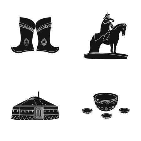 Military boots, a monument to the rider, a national tent, a milk drink. Mongolia set collection icons in black style vector symbol stock illustration web.