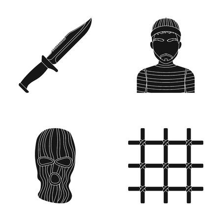 Couteau, prisonnier, masque sur le visage, grille en acier. Prison, ensemble, collection, icônes, dans, noir, style, vecteur, symbole, stock, illustration, toile