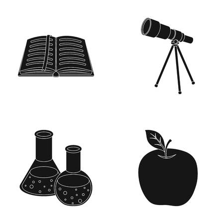 An open book with a bookmark, a telescope, flasks with reagents, a red apple. Schools and education set collection icons in black style vector symbol stock illustration web. Illustration