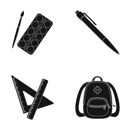 Multicolored paints with a tassel, pen, triangle and ruler, satchel, briefcase. School and education set collection icons in black style vector symbol stock illustration web. Illustration