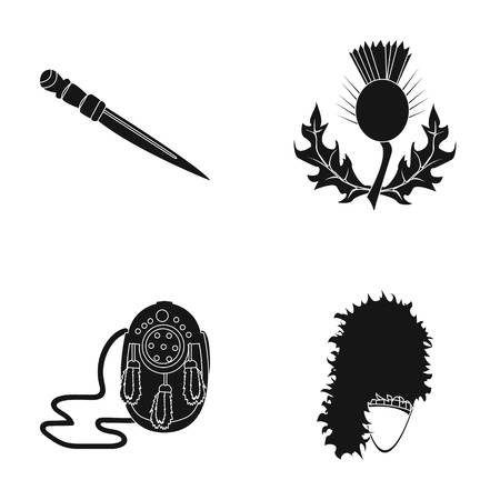 National Dirk Dagger, Thistle National Symbol, Sporran,glengarry.Scotland set collection icons in black style vector symbol stock illustration web. Illustration