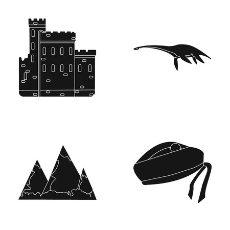 Edinburgh Castle, Loch Ness Monster, Grampian Mountains, national cap balmoral,tam o'shanter. Scotland set collection icons in black style vector symbol stock illustration web.